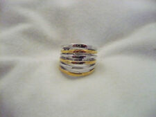 New in Box Lia Sophia Echo ring wide band alternating gold & silver row size 6.5