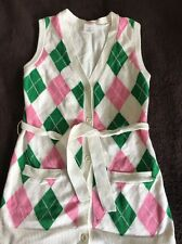 Gymboree White Pink Green Argyle Belted Sweater Vest Sz Small (5-6) EUC
