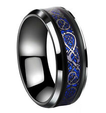 8mm Stainless Steel Ring Black Celtic Dragon Blue Mens Jewelry size 10