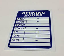 Opening Hours Times Shop Sign - A5 Size - 6 colours to Choose from