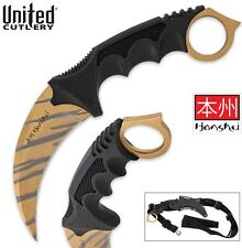 "United Cutlery Honshu Gold Tiger Stripe Karambit 8.75"" Limited Editon UC3131TS"
