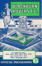 Programa de fútbol > Blackburn Rovers v Lobos septiembre de 1961