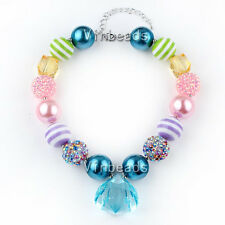 New Gradient Solid Chunky Beads Bubblegum Gumball Pendants Necklace Baby Jewelry