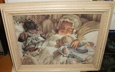 M.BYERS AFRICAN BABY WITH DOLL GICLEE ON CANVAS PAINTING