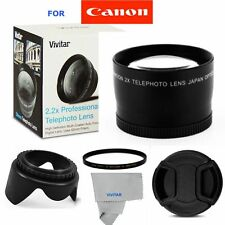 2.2X TELEPHOTO ZOOM LENS +UV FILTER + HOOD + CAP FOR CANON EOS REBEL DSLR CAMERA