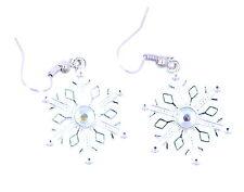 Festive Natale cambio,bello d'argento trasparente orecchini fiocco di neve