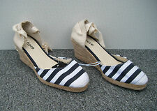Fiore Blue & White Stripe Espadrille Wedge Sandals with Ankle Tie Size 4/37