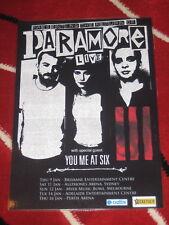 PARAMORE - 2014  AUSTRALIAN TOUR -  LAMINATED PROMO TOUR POSTER