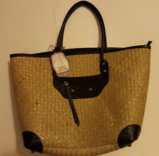 SUN N' SAND Large Tote Bag Black Leather & Straw Design ~ Fully Lined