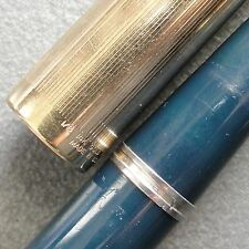 "1/8 14K GF Blue Cedar PARKER ""51"" VACUMATIC PostWar Fountain Pen 14K M Nib T7"