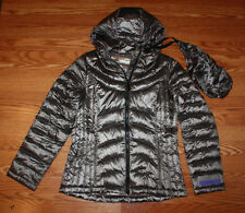 NWT Womens ANDREW MARC Gray Packable Hooded Puffer Duck Down Jacket Coat Sz M