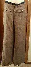 Elevenses for Anthropologie sz 6 full leg cuffed linen pants brown tweed