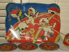 RARE Vintage OHIO ART CAT TIN LITHO TRAY Tea Set THREE LITTLE KITTENS Mitten 107
