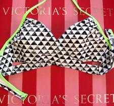 VICTORIAS SECRET PINK Padded Body Wrap Bikini Top S Small Black White Neon Green