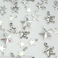 250 Assorted Star Charms 7-14mm Selection 6 Designs