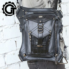 Unisex Leather Waist Fanny Leg Bag Motorcycle Rider Punk Rock Messenger Pack