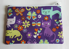Cute Colourful Cats Fabric Handmade Zippy Coin Purse Storage Pouch