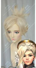 Overwatch OW Mercy Angela Ziegler Cosplay Wig Clip Ponytail Blonde Golden