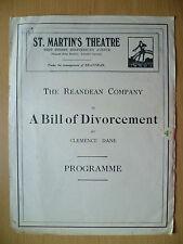 1921 THEATRE PROGRAMME- A BILL OF DIVORCEMENT - Lilian Braithwaite, Agnes Thomas