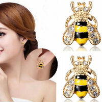 Women Enamel Rhinestone Bumble Bee Crystal Earrings Animal Ear Stud Jewelry Gift