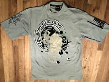 NWT Royal Republic Grey w/gold Tiger Face Graphic 100% Soft  Cotn Sz L (S-T-141)
