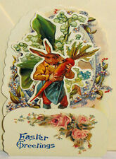 VINTAGE EASTER CARD 3D Stand up Display RABBIT EATING CARROT EGG NOS Shackman