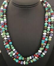Native American Sterling Silver Turquoise  , Multi Stone Bead Necklace