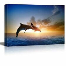 Canvas - Beautiful Scenery of Two Jumping Dolphins on the Sea at Sunset - 16x24