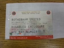 16/09/2003 Ticket: Sheffield United v Rotherham United [Disabled Enclosure] . An