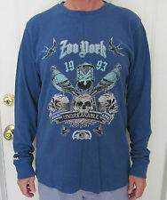Zoo York Mens Long Sleeve Crew Neck Blue Tee Shirt, Stunning Design  Size L NWT