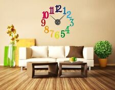 Colorful Numbers Wall Clock Decal, sticker, home decor