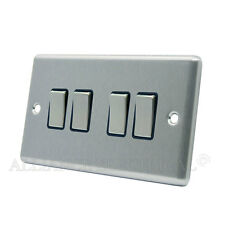 Brushed Satin Chrome Classical 4 Gang Quad 2 Way Light Switch CSC4GSWIBS