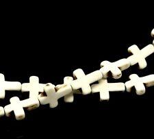 1 filamento de crema teñido Turquesa Cruz Perlas Molduras Howlite Aprox 25pcs T88