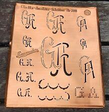 """Monogramm """" GA """" Wäschemonogramm Wäscheschablone Wäschezeichen 11/13 cm KUPFER"""