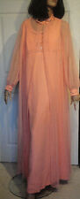 Vintage 60s Coral Chiffon Beaded Long Party Dress & Cover Elgin Dress B40