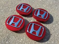 "Honda Set 4 Red wheel rim center cap insert emblem 2.75"" 69mm Civic Accord CRV"