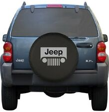 "Black Jeep Wrangler Grill Spare Tire Cover Wheel R15 27"" - 30"" New Free Shipping"