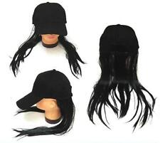 NOVELTY BASEBALL HAT WITH LONG BLACK HAIR costume dressup ball cap mens women