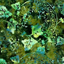 """Fabric #2365 Blue/Green Leaves Batik Yenter End of Bolt 2 Pieces = 39"""" See Below"""