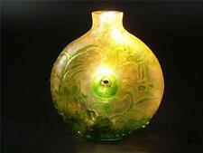 Big Antique Old Chinese Peking Glass Carved Snuff Bottle CRANES, BAMBOO, PLUM