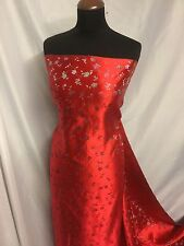 New Italian Silky RedFloral BROCADE GORGEOUS JACQUARD High Quality Fabric Dress