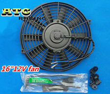 "UNIVERSAL SLIM 16"" 12V PUSH PULL ELECTRIC ENGINE RADIATOR COOLING FAN"