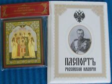 Russian czar Nicholas II family wife, three daughters son icon + passport cover