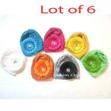 6 pcs Lot Girl Newborn Baby FLOWER  CROCHET Waffle BEANIE kufi Winter HAT Cap