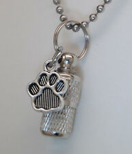 PET CREMATION JEWELRY PAW URN NECKLACE MEMORIAL KEEPSAKE CYLINDER URN MEMORIAL