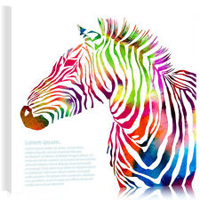 HD Wall Art Abstract Colorful Zebra On Canvas Prints Picture Poster Unframed