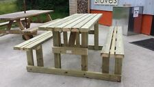 5FT WALK IN PICNIC BENCH HEAVY DUTY WIDE SEAT GARDEN TABLE