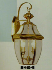 Large Gold Brass Outdoor House Light Porch Deck Lamp Lantern Fixture 2x60 W.