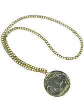 Gold 70's Medallion Necklace Hippy Chain Mens Ladies Fancy Dress Accessory New