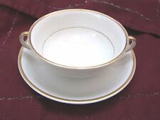 Set Of 4 Vintage Cream Soup Bowls & Saucer White with Gold Bands, Johnson Bros